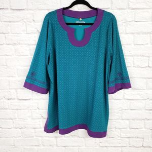 Soft Surroundings Teal Blue Tunic Top Purple Trim